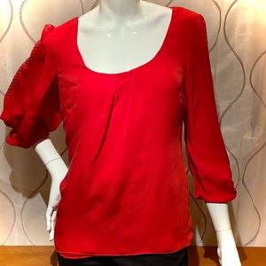 WHBM silk red blouse w/ gold stud accents, size 10